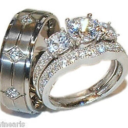 his hers 3 stone cz wedding engagement ring set sterling silver titanium - 3 Piece Wedding Rings