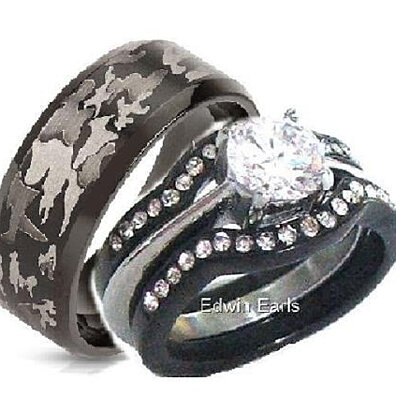 his hers 4 piece cz black stainless steel black camouflage wedding rings set - Camo Wedding Ring Set