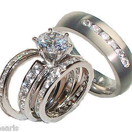 Wedding Rings Sets For Him And Her.His Hers 4 Piece Cz Wedding Ring Set Sterling Silver Titanium Wedding Rings
