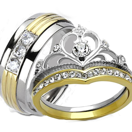Buy His Hers Yellow Gold IP Crown Stainless Steel Mens Titanium Wedding Ring Set By Edwin Earls On OpenSky