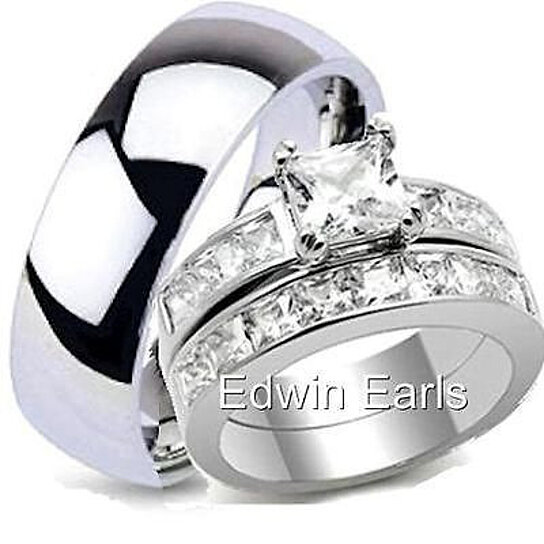 His Hers Top Quality Wedding Ring Set Stainless Steel Rings By Edwin Earls On Opensky