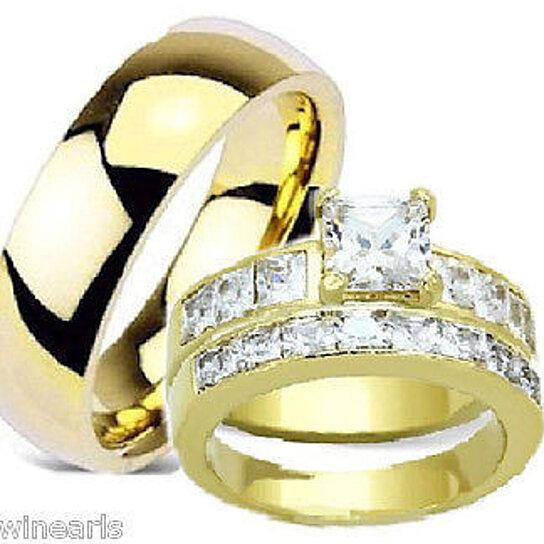 Buy His Hers Wedding Engagement Ring Set Yellow Gold Plated