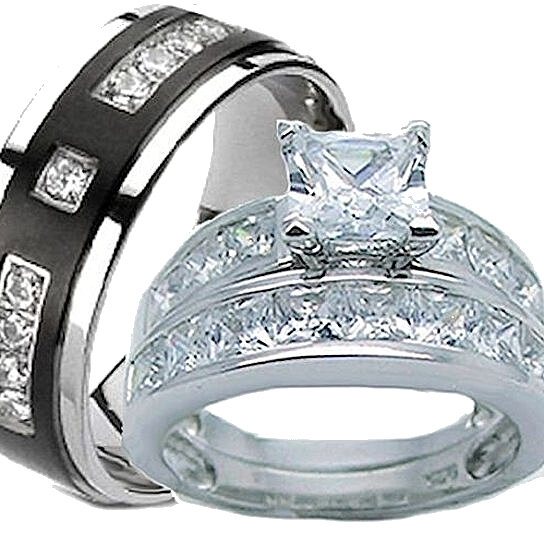 99342772602 Buy His   Hers Wedding Ring Set 925 Sterling Silver   Titantium Wedding  Rings by Edwin Earls on OpenSky