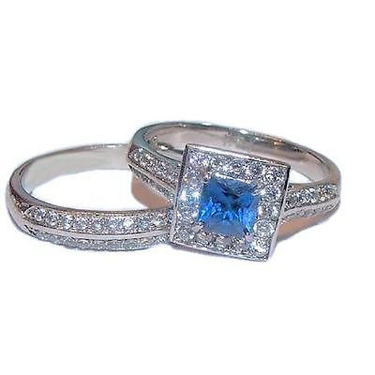 b409940006d Buy Women s Halo Sapphire Blue   Clear Cz Wedding Ring Set Stainless Steel  by Edwin Earls on OpenSky
