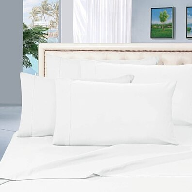 Elegant Comfort 1500 Series Wrinkle Resistant Egyptian Quality Hypoallergenic Ultra Soft Luxury 4-Piece Bed Sheet Set, Queen, White