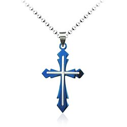Blue Cross Pendant Necklace For Young Men, Teens, Boys - Baptism Gift, Christening, Christmas, Birthday present