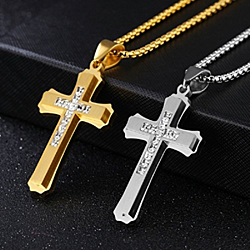 Cross Necklace for Men- Best Gift for Baptism, Christening, Christmas, Birthday for Pastor, Priest, Religious Christian, Catholic Gifts