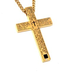 Gold Cross Necklace for Men- Lord's Prayer Pendant. Unique Baptism Gift, Christening, Christmas, Birthday present for Young Men, Teens, Boys