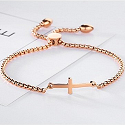 Adjustable Cross Bracelet - 18K Rose Gold Plated for Long Lasting Wearing, Best Gift for Christening, Baptism and More