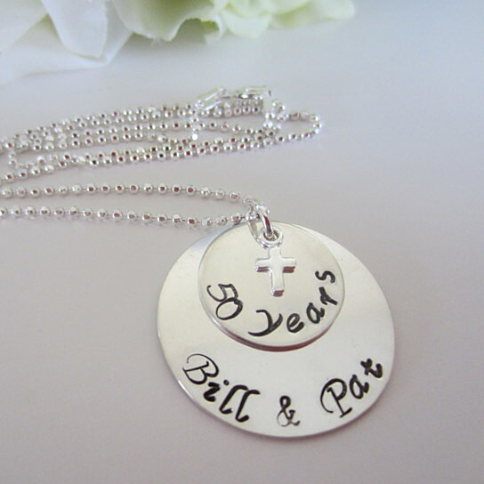 50th Anniversary Necklace 25th Golden Wedding Jewelry Silver Sterling By Ellen B