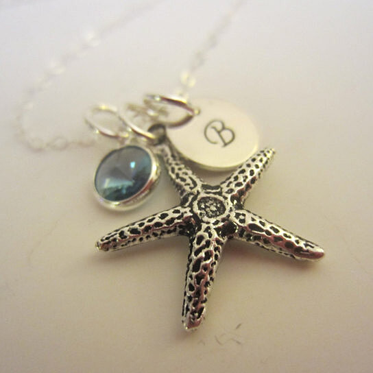 Bridesmaid Gifts Beach Wedding: Buy Personalized Starfish Beach Lovers Initial Necklace