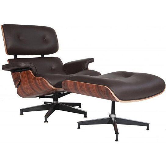 Sensational Emod Mid Century Eames Style Lounge Chair Ottoman Replica Italian Leather Brown Palisander Squirreltailoven Fun Painted Chair Ideas Images Squirreltailovenorg