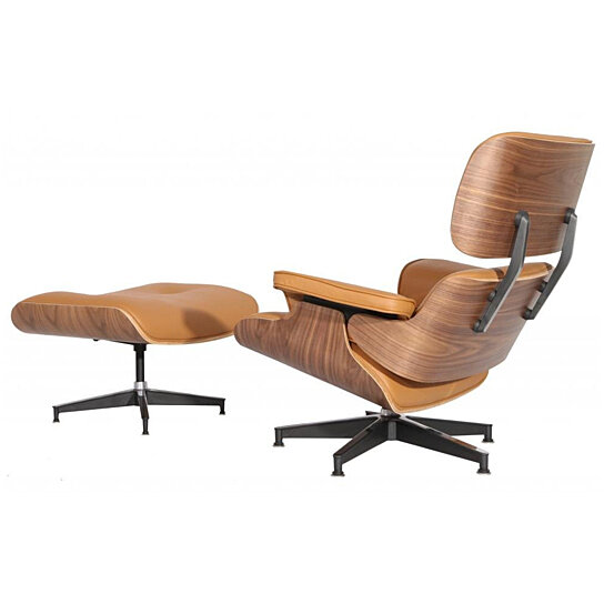 Marvelous Emod Mid Century Eames Style Lounge Chair Ottoman Replica Italian Leather Terracotta Walnut Squirreltailoven Fun Painted Chair Ideas Images Squirreltailovenorg