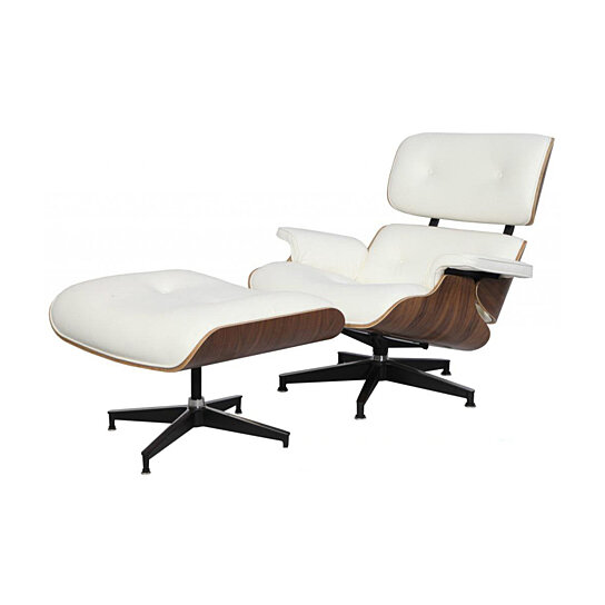 Marvelous Emod Mid Century Eames Style Lounge Chair Ottoman Replica Italian Leather White Walnut Squirreltailoven Fun Painted Chair Ideas Images Squirreltailovenorg