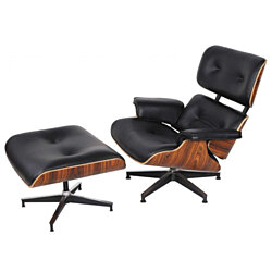 eMod - Mid Century Eames Style Lounge Chair & Ottoman Replica Italian Leather Black Palisander