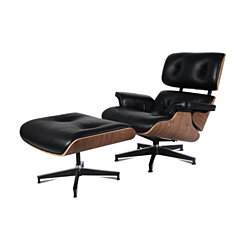 eMod - Mid Century Eames Style Lounge Chair & Ottoman Replica Italian Leather Black Walnut