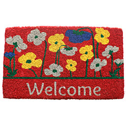 Poppies Welcome Handwoven Coconut Fiber Doormat