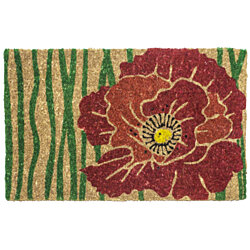 Red Bloom Handwoven Coconut Fiber Doormat
