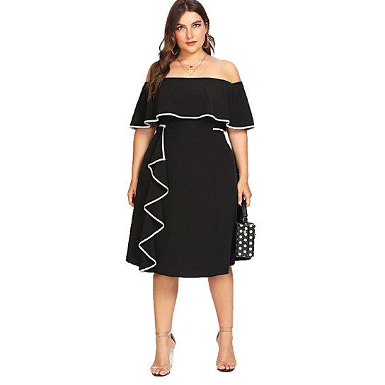 Women\'s Off Shoulder Plus Size Dress