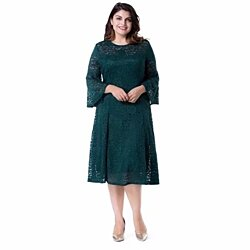 38c4b0bc83 Women s Plus Size Floral Lace With Bell Sleeves Midi A-Line Evening Dress