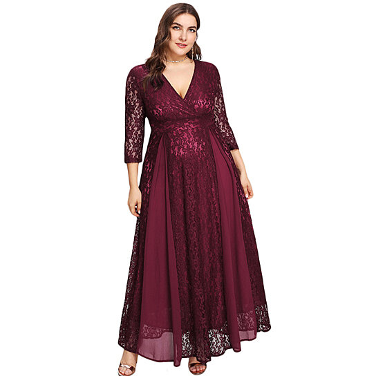 6a129af2c41bd Trending product! This item has been added to cart 33 times in the last 24  hours. Women's Plus Size High Waist Lace Overlay Evening Maxi Dress