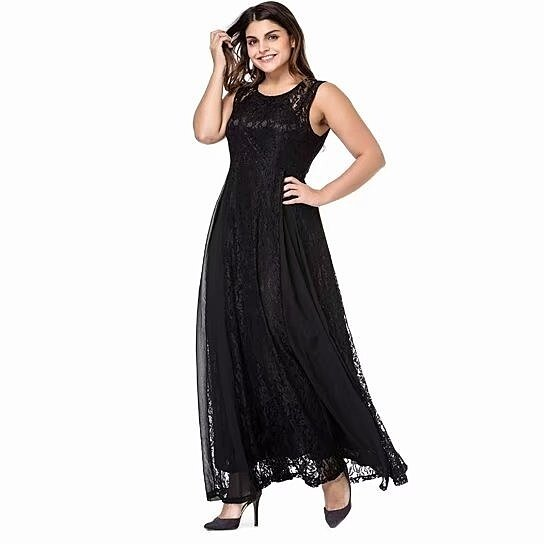 Women\'s Plus Size Lace Sleeveless Evening Party Formal Maxi Dress