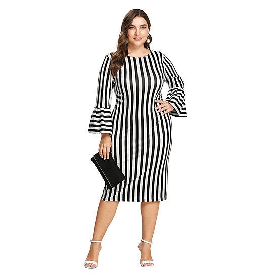 Buy Womens Plus Size Pencil Slim Bodycon Dress Midi Dress By