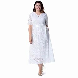 97bd1a2f5f518 Women's Plus Size Short Sleeves Mother of The Bride Cocktail True Wrap Lace  Dress