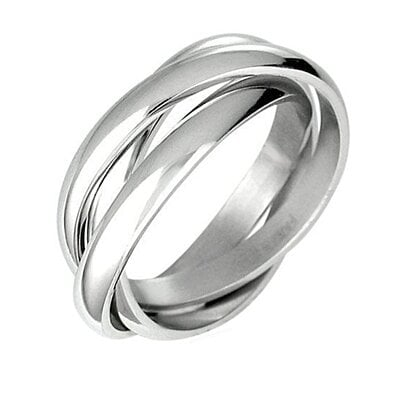 Intersecting Bands Ring in Stainless Steel