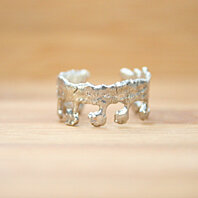 Silver Lace Vintage Crown Open Ring Handmade