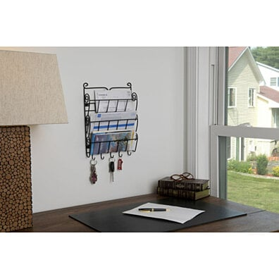 Evelots 3 Tier Letter Rack With Key Holder Office Kitchen Wall Mount Organizer