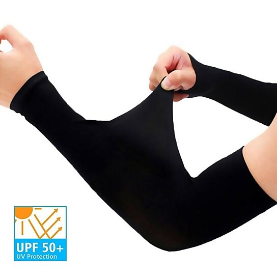 2 Pairs UV Protection Cooling Arm Sleeves UPF 50 Long Sun Sleeves for Men Women
