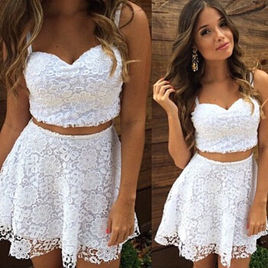 Buy A Line Summer Sexy Women 2 Two Piece Lace Dress White Spaghetti Strap V  Neck Casual Mini Vestido Club Party Dress Plus Size by Fab Getup Shop on  OpenSky 7892a77b5