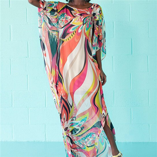 8c98c3840971 Buy Beach Dress Kaftan Pareo Sarongs Sexy Cover-Up Chiffon Bikini Swimwear  Tunic Swimsuit Bathing Suit Cover Ups Robe De Plage by Fab Getup Shop on  OpenSky