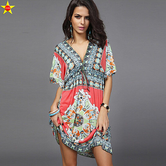 Buy Boho Style Summer Women Dress Sexy Sundresses Deep V Ethnic Floral Print  Tunic Beach Dresses Plus Size Casual Silk Dresses by Fab Getup Shop on  OpenSky c6052d9384ce