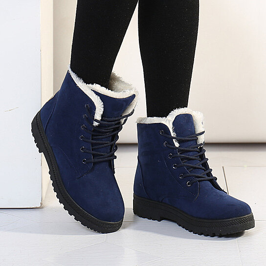 Womens Flat Ankle Boots Warm Fur Winter Snow Boots Shoes Black 8.5