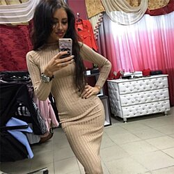 Fall  Fashion Long Sleeve Knitted Casual Christmas Women Dress Autumn Winter Red Black Sexy Bodycon Party Dresses