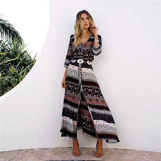 2d4af65c2ffe Trending product! This item has been added to cart 40 times in the last 24  hours. Women Beach Boho Maxi Dress Summer V-neck Print Vintage Long Dresses  ...