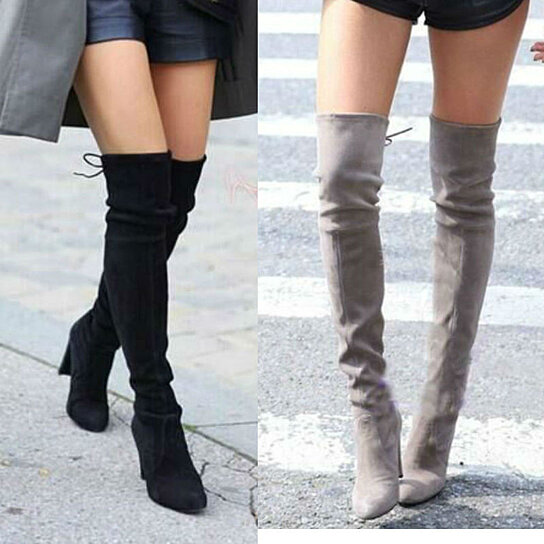 79a98fc8f7f Buy Women Faux Suede Thigh High Boots Over the Knee Boots Stretch Sexy Overknee  High Heels Woman Shoes Black Gray Wine Red Brown by Fab Getup Shop on ...