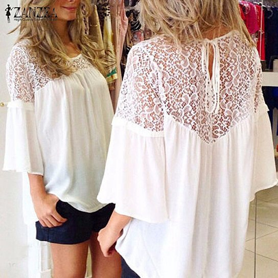 046aa77bb84 to cart 53 times in the last 24 hours. Plus Size European Summer Style Women  Blusas Chiffon Patchwork Lace Solid Shirts Casual Loose White Blouses