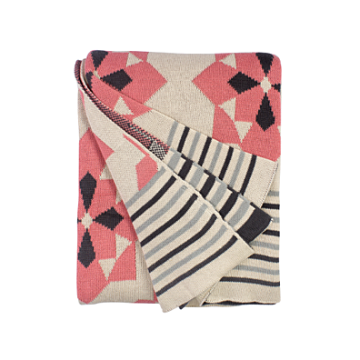 "Fab Habitat - Ellesmere - Pink Cotton Throw Blanket 50"" x 70"""