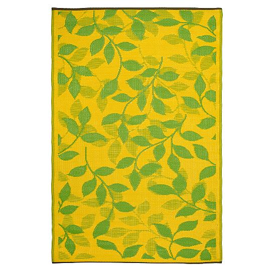 Fab Habitat Indoor/Outdoor Rug - Bali - Lemon Yellow & Moss Green