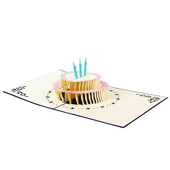 3D Pop Up Card Birthday Candles Cake Happy Christmas Club Postcard