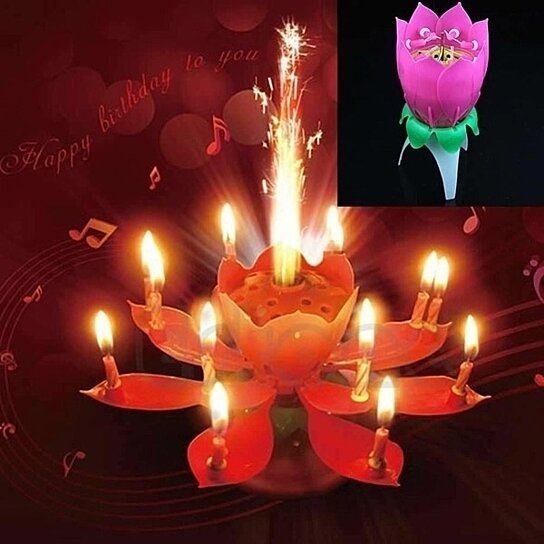 Buy Hot Birthday Candles Music Lotus Shape Candle Cake Baking Smokeless By Fangfangstore On OpenSky