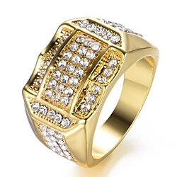Gold Plated Wedding Engagement Men's Ring
