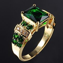 Mens Jewelry Popular Emerald Ring  Yellow Gold Filled free