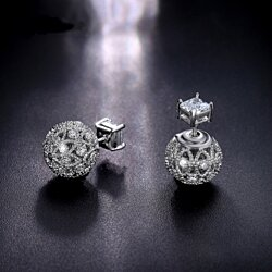 Retro Hollow Ball Double Sided Earring Piercing Stud