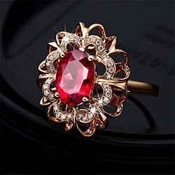 Rose Gold Plated Colorful Crystal Rhinestone Elegant Ring Jewelry