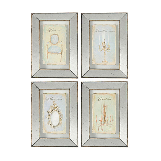 Buy Mirror Frames Glass Wall Art Vintage 4 Piece Set By Fantastic Decor On Dot Bo