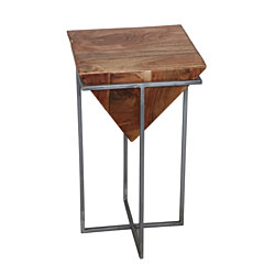 Urban Industrial Wood and Iron Side Table